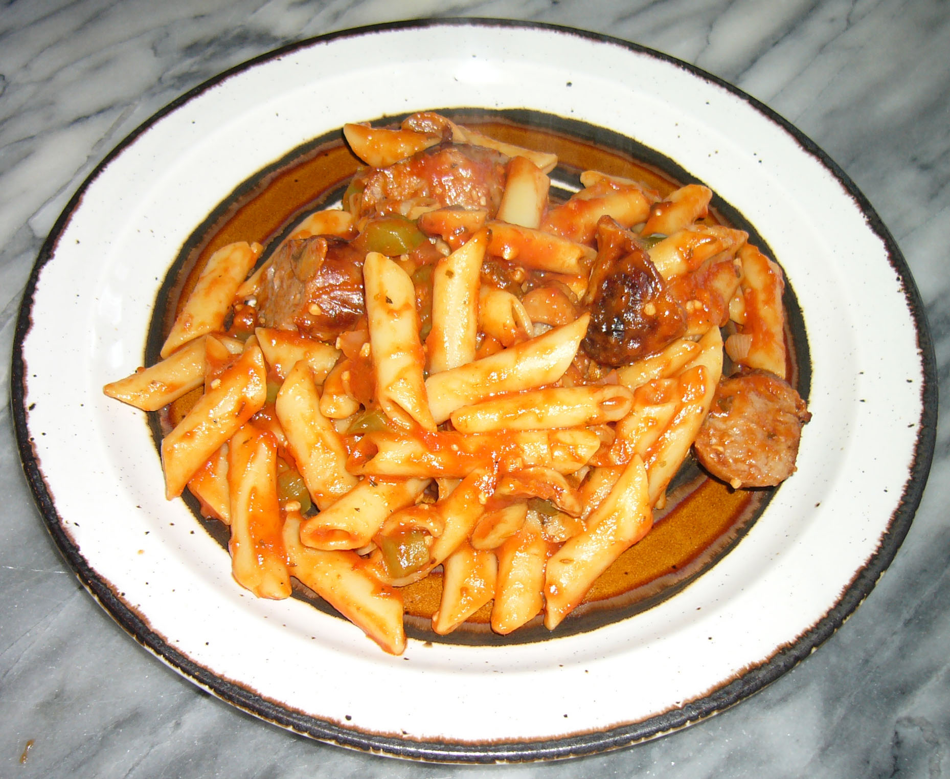 honey garlic sausage mostaccioli